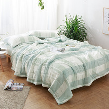 Quilt+Bed Sheet +Pillow Cover 3/4pcs Washed Cotton Plaid Adults Kids Housse Stripe Bed Summer Quilt Bedding Set