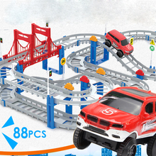 88pcs 3D DIY Assemb Slots Off-road Vehicle 3D Electric Rail Car 3Layers Slot Kit Spiral Track Roller Coaster Child Gift(China)
