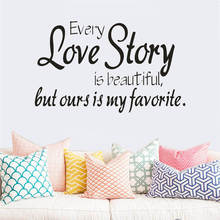 "wall stickers home decor -English quote ""every love story is beautiful"" Vinyl Lettering Words Wall Art Quote Sticky Decals(China)"