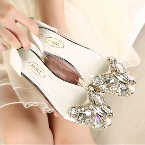 Spring 2016 new fashion rhinestone bow pointed flat shoes Women shoes transparent diamond Women flats 1098<br><br>Aliexpress