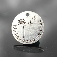 20MM Wishes do come true Dandelion Alloy Charms Wholesale Lead and Nickel Free