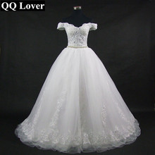 Buy QQ Lover 2018 New Boat Neck Wedding Dress Appliques Vestido De Noiva Custom-made Plus Size Wedding Gown Bridal Dress for $110.50 in AliExpress store