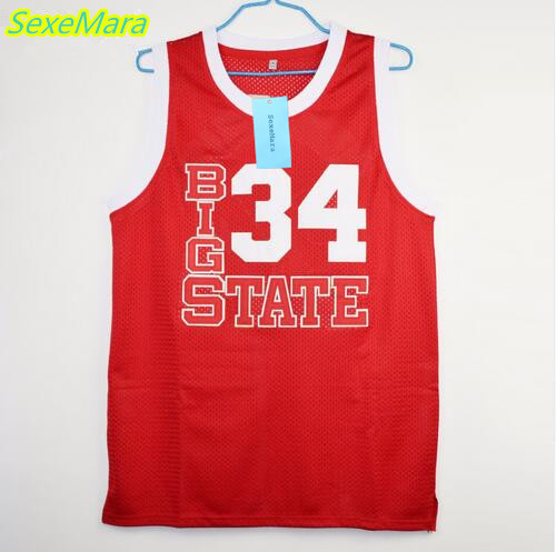 SexeMara Jesus Shuttlesworth 34 Big State Movie Basketball Jersey He Got Game Stitched Sewn-Red