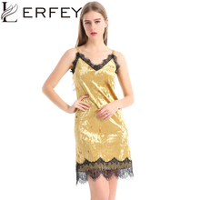 Buy LERFEY Sexy Club Dress Sleeveless Spaghetti Strap Party Dresses Velvet Lace Patchwork Women Mini Dress Vestidos Womens Clothing for $11.79 in AliExpress store