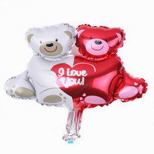 XXPWJ Free shipping mini bear hug Heart aluminum balloons decorated children's birthday party balloon toy wholesale B-043(China)