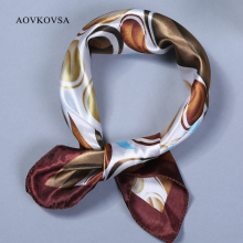 AOVKOVSA 2017 New Satin Surface All Match Printing Bandana Small Square Silk Scarf Women Scarves 50*50cm(China)