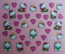 Mix Order: $0.7 XF332 Free Shipping Brand 3D Design Tip Nail Art Hello Kitty Nail Stickers Decals Carving Nail Art Decorations