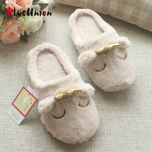 cotton crown smile japanese style cartoon animal indoor woman slides penguin seal bear home winter anime slipper shoe woman soft(China)