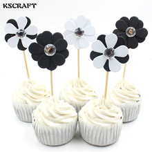 KSCRAFT Black And White Flowers Party cupcake toppers picks decoration for Kids Birthday party Cake favors Decoration supplies