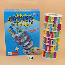 Hot Ins Boom Boom Tower Collapse Family Funny Game.28*21 cm table Building play blocks eiffel tower Pisa tower