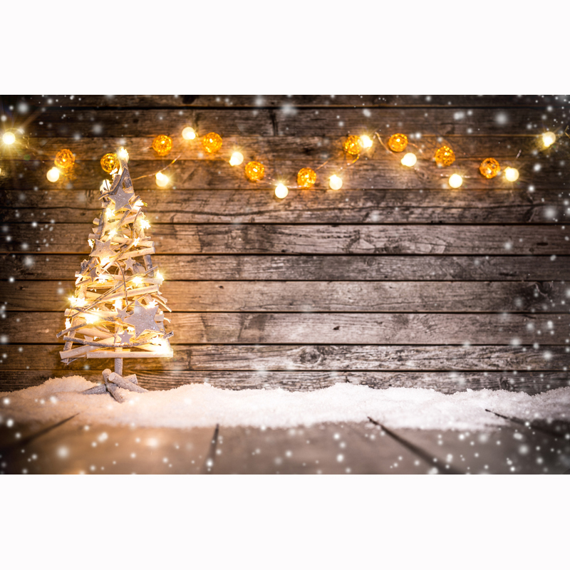 HUAYI custom rustic backdrop for baby/portraits with lamps yellow lights photography wooden tree floor wall background XT-5601