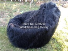 LIVING ROOM long blk fur LUXURY LUSH & SOFT SHAGGY ALPACA FAUX FUR BEAN BAG POUF COVER-self factory made - Cover only No Filler