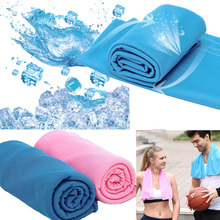 New 85x35CM Blue Swimming Cooling Towel Ice Cold Yarn Enduring Towel for Sports Instant Jogging Cycling Swim Gym Chilly Pad(China)