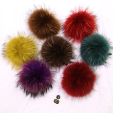 Big Natural Fur Pompon Ball For Shoes Hats Bags Accessories Genuine Real Raccoon Fur Pompom Fur Pom Poms Ball for Hats & Caps