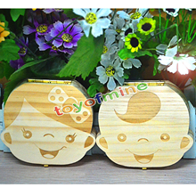 Tooth Box organizer for baby save Milk teeth Wood storage box great gifts 3-6YEARS creative for kids Boy and Girl image Smile(China)