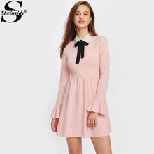 Sheinside Contrast Mesh Collar Fluted Cuff Smock Dress 2017 Pink Embroidery Bow Long Sleeve Elegant Dress Cute A Line Dress(China)