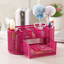 Multifunctional 9 Components Metal Table Storage Box Desktop Organizer with Drawers