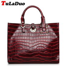 Crocodile Pattern Luxury Brand Tote Bag Pu Leather Women Handbags Famous Designer Tote Handbags High Quality Casual Shoulder Bag(China)