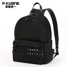 P.KUONE Hot Sell Canvas Women Rivet Backpack Luxury Brand Female Laptop Bag Men's Travel School Shoulder Bag For Teenager Girls(China)