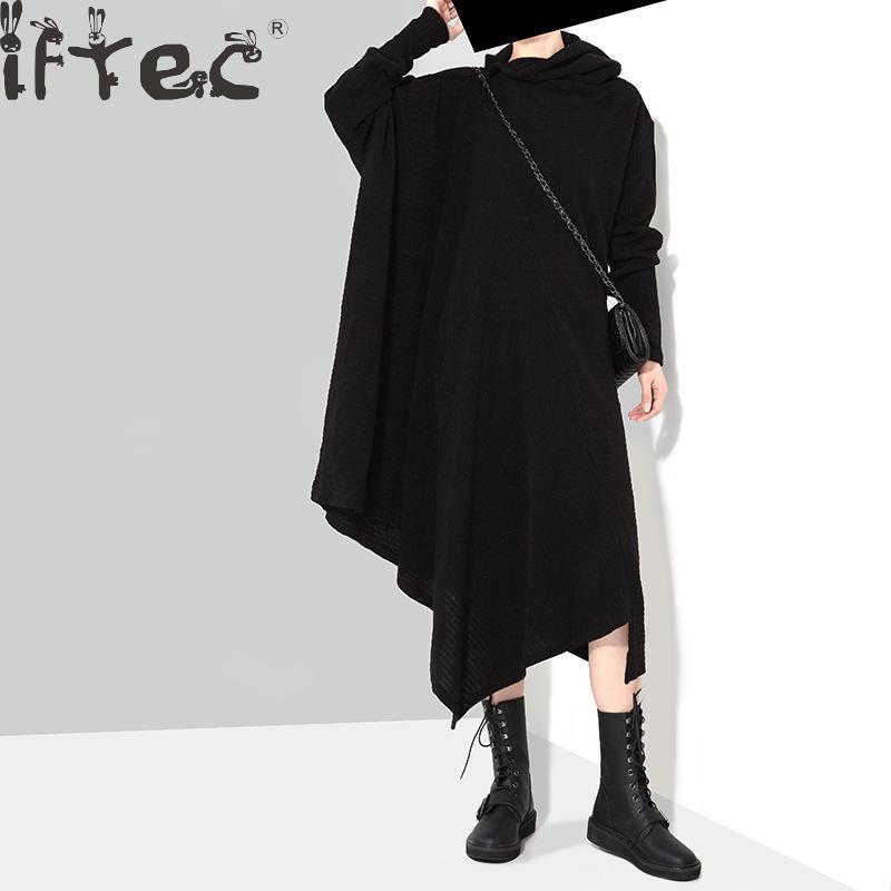 2018 European Fashion Women Knitted Dress Black Grey Scarf Collar Irregular Casual Vintage Winter Sweater Dress KnitwearÎäåæäà è àêñåññóàðû<br><br>