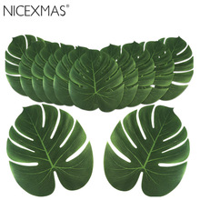 24pcs 35x29cm&20x18cm Artificial Tropical Palm Leaves Simulation Leaf For Hawaiian Party Jungle Beach Theme Party Decorations