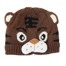 1pc Baby Girls Boys Kids Toddlers Crochet Knit Cute Tiger Hat Cap Beanie Bonnet Coffee(China)
