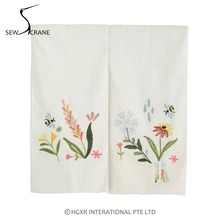 SewCrane Honeycomb Fabric Embroidery Design with Garden Flower Bee Home Restaurant Door Curtain Noren Doorway Room Divider