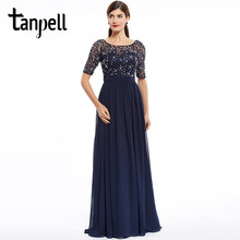 Tanpell fashion evening dress cheap dark navy scoop a line floor length dress chiffon half sleeves beaded lace long evening gown