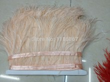 Free Shipping 1Yard/Lot Height  10-15CM/ 4-6 inch  Ostrich Feather fringe  ivory Ostrich feather Trimming