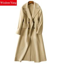 Wisdom Yang Women Wool Sheep Coat Camel Brown Office Warm Winter Elegant Trench Long Sleeve Woolen Overcoats Jackets Casacos(China)
