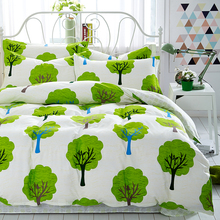2017 Newest Summer Green Tree Comforter Bedding sets Queen Size Cotton Duvet Cover Home Decor Bed Line Bed sheet Pillowcase
