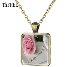 TAFREE Rose Flower Happy Valentine's Day Square Necklace For Lovers Antique Bronze Plated Art Picture Glass Dome Jewelry FQ757(China)