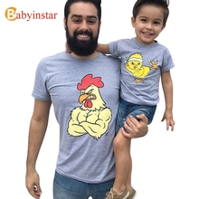 Babyinstar Father And Son Clothes Fahion Style Cute Strong Chicken Pattern Family T Shirt 2017 New Family Matching Outfits(China)