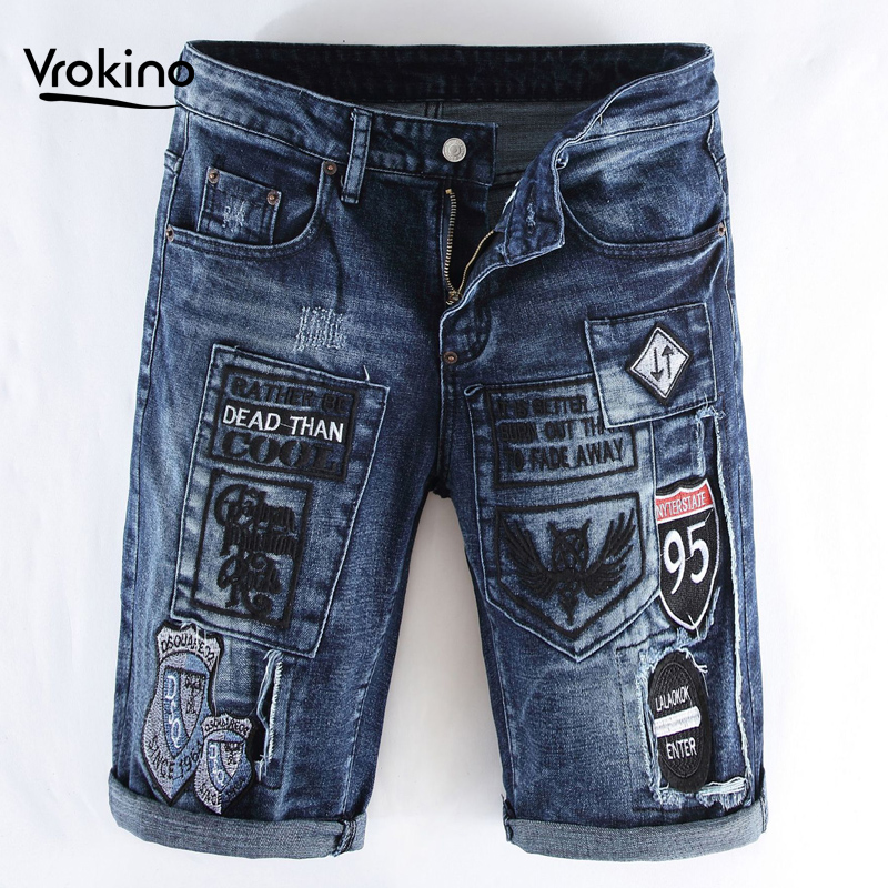VROKINO Fashion Men Shorts Jeans Men Summer Leisure Embroidery Patchwork Jeans Shorts Cotton Knee Length Straight 36 38
