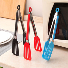 1pcs Colorful BBQ Tongs Cover Handle Kitchen Tongs Lock Design Barbecue Clip Clamp Stainless Steel Food Tongs
