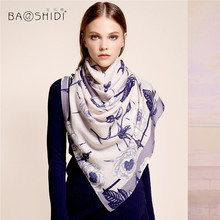 [BAOSHIDI]100% wool long scarfs, Scarves luxury brand, Rose Floral Winter Scarf women, Elegant warm shawl lady, Printed hijab