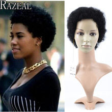 Razeal Cheap Afro Kinky Curly Perruque Short Synthetic Wig African American Short Wigs For Black Women Curl Female Wig Cosplay