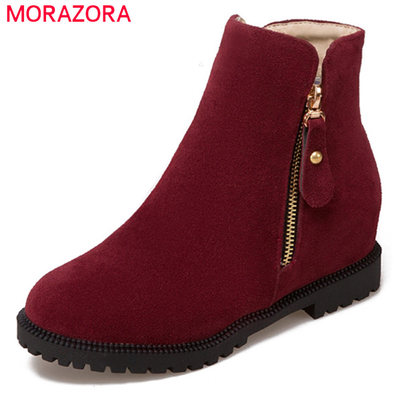 MORAZORA PU nubuck leather height increasing shoes woman ankle boots for women fashion boots female zip solid big size 34-43<br>
