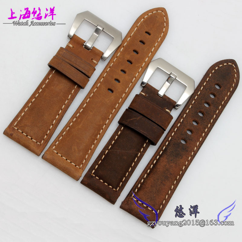 Watch band 24mm New Mens Black Light Brown Stitching Genuine Leather Watch Strap Band Bracelets<br><br>Aliexpress