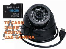 hot sale USB TF card record Security 24IR Indoor 1/4 CMOS 420tvl Surveillance Camera with 16GB TF CARD