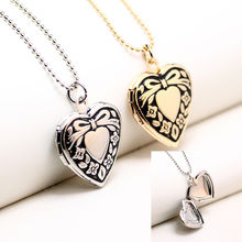 Top Quality Girls Heart Shape Locket White Gold Photo Locket Heart Necklace Locket For Daughter Memory Pendant Necklaces