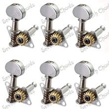 A Set 6 Pcs Chrome Open Gear Inline String Tuners Tuning Pegs Keys Machine Heads for Guitar With Small semicircle Buttons(China)