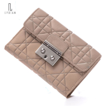 New Fashion Ladies Purse Genuine Leather Wallet Women Tri Fold Wallet Diamond Lattice Purse Bag Short Cross-Section Ladies Purse