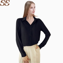 Women Casual Blouse Button 5 Solid Color 2017 New Long sleeve Shirt Female Chiffon blouse vintag Women Clothing blusas feminina(China)