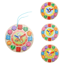 Kids Wooden Puzzle Toys Cognitive Digital Clock Digital Wooden Watch Jigsaw Toys Cartoon Threading Assembly Toys(China)