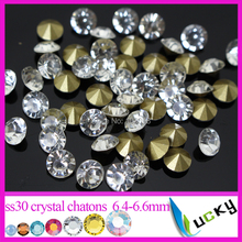Super shine Machine Cut Chatons 288pcs ss30 Round Diamond shape strass stones point back rhinestones Clear color Freeshipping