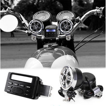 1Set Motorcycle MP3 Player Speakers Stereo Audio Sound System Scooter Motorbike FM Radio Audio Support(China)