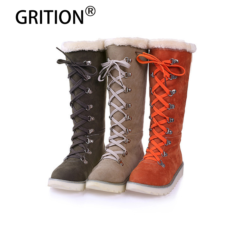 GRITION Free Shipping Winter Women Boots Green Brown Orange Women Shoes Warm Flat Platform Velvet Women Snow Boots Plus Size<br>