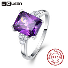 Vintage Jewelry 5.25ct Amethyst 925 Sterling Silver Ring emerald Cut Purple Nature stone Women Wedding Anel Aneis Gemstone Rings(China)