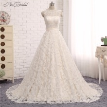 2018 New Wedding Dresses Vestido de Noiva A Line Boat Neck Lace Bridal Gown with Ribbon Backless Robe de Mariee